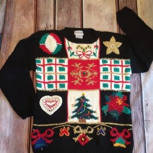 Ugly Christmas Sweater Cabin Creek Ramie Blend XL